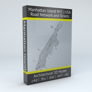 Manhattan Island New York City Road Network and Streets Architectural 3D Model