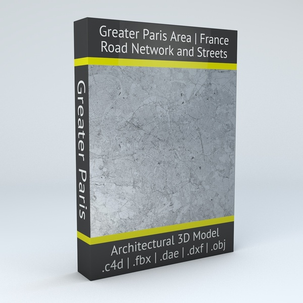 Greater Paris Road Network and Streets Architectural 3D Model