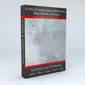 El Paso and Ciudad Juarez Road Network and Streets Architectural 3D Model