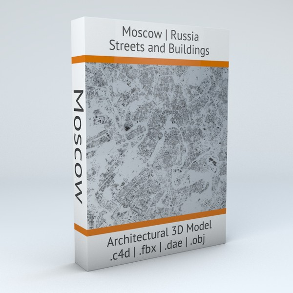 Moscow Streets and Buildings Architectural 3D Model