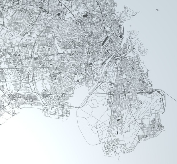 Copenhagen Road Network and Streets Architectural 3D model