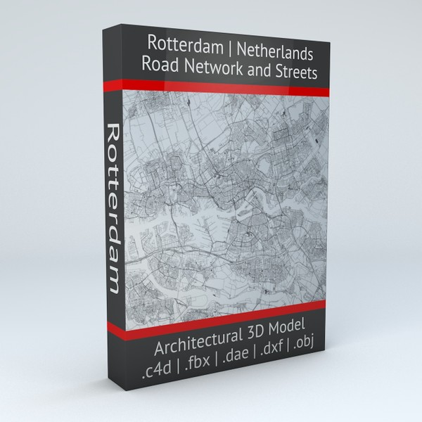 Rotterdam Road Network and Streets Architectural 3D model