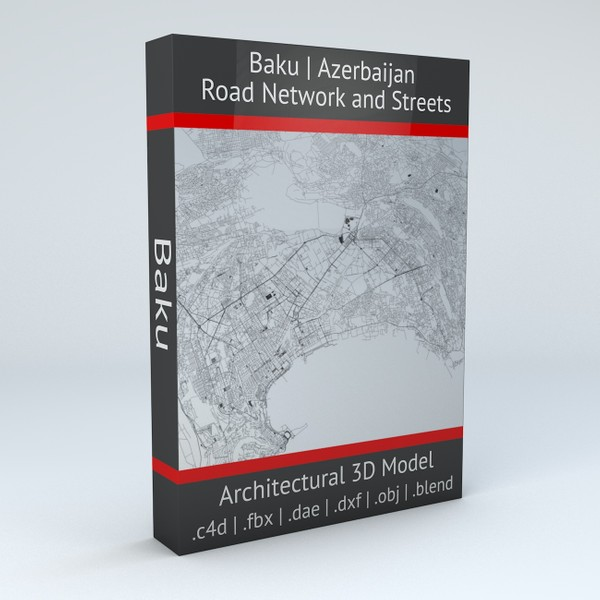 Baku Road Network and Streets Architectural 3D model