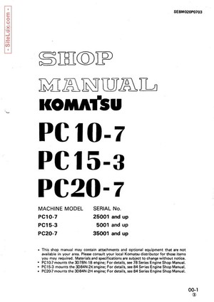 Komatsu PC10-7, PC15-3, PC20-7 Hydraulic Excavator Shop Manual - SEBM020P0703