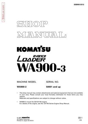 Komatsu WA900-3 avance Wheel Loader Shop Manual - SEBM013512