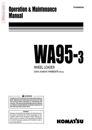 Komatsu WA95-3 Wheel Loader Operation & Maintenance Manual - VEAM980500