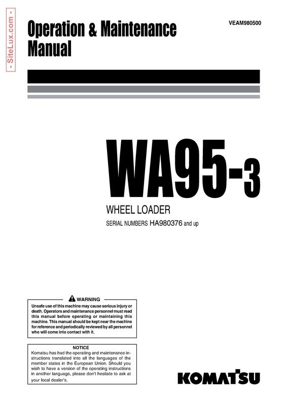 Komatsu WA95-3 Wheel Loader Operation & Maintenance Manual - VEAM980500