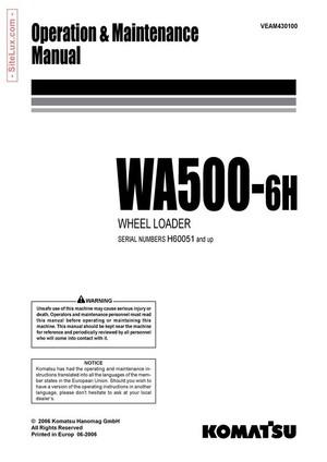 Komatsu WA500-6H Wheel Loader Operation & Maintenance Manual - VEAM430100