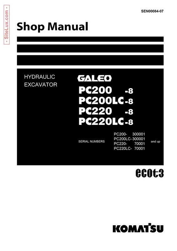 Komatsu PC200, 220(LC)-8 Galeo Hydraulic Excavator Shop Manual - SEN00084-07
