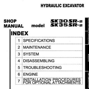 Kobelco SK30SR-2 & SK35SR-2 Hydraulic Excavator Shop Manual - S5PW0002E