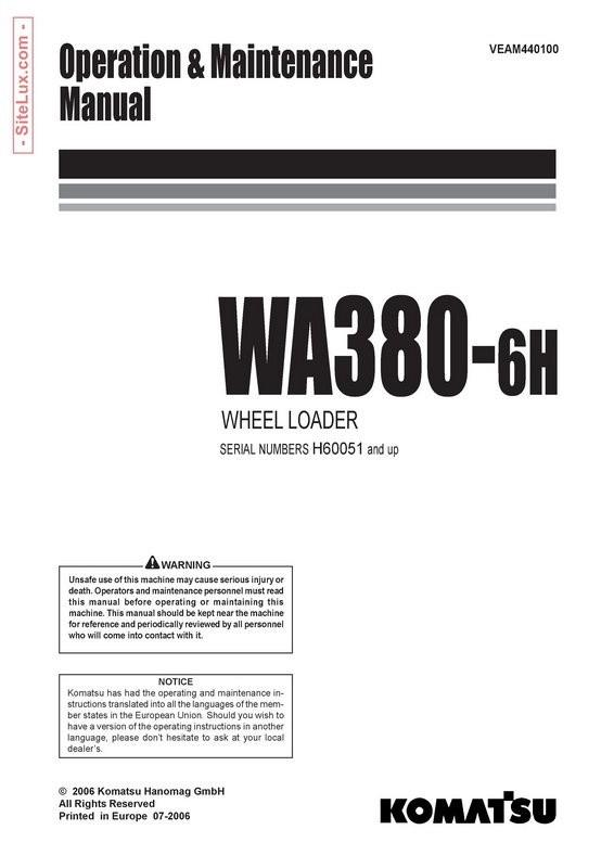 Komatsu WA380-6H Wheel Loader Operation & Maintenance Manual - VEAM440100