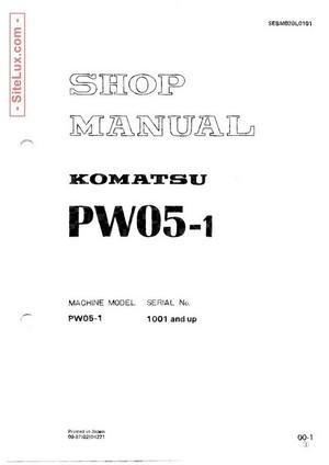 Komatsu PW05-1 Compact Wheeled Excavator Shop Manual - SEBM020L0101