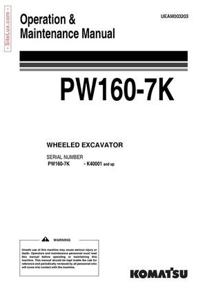 Komatsu PW160-7K Hydraulic Excavator (K40001 and up) Operation & Maintenance Manual - UEAM003203