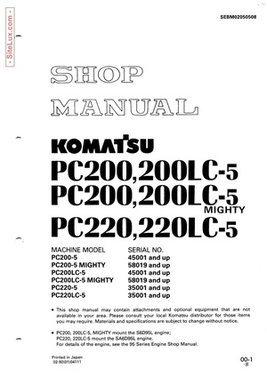Komatsu PC200,LC-5 Mighty , PC220,LC-5 Hydraulic Excavator Shop Manual - SEBM02050508