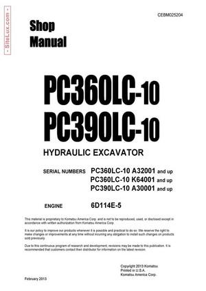 Komatsu PC360LC-10, PC390LC-10 Hydraulic Excavator Shop Manual - CEBM025204