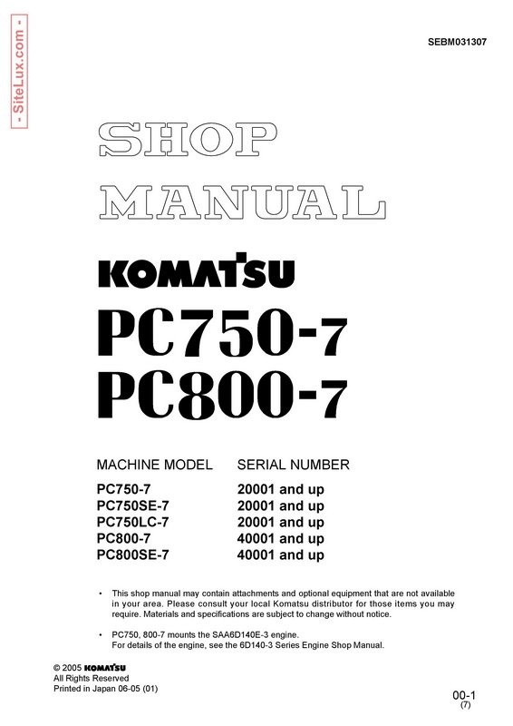 Komatsu PC750-7, PC800-7 Hydraulic Excavator Shop Manual - SEBM031307