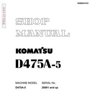 Komatsu D475A-5 Bulldozer (20001 and up) Shop Manual - SEBM033703