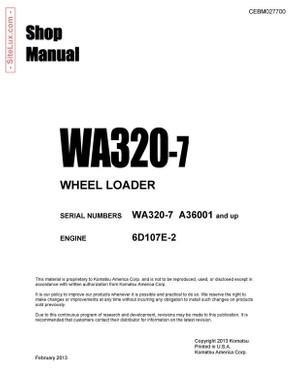 Komatsu WA320-7 Wheel Loader Shop Manual - CEBM027700