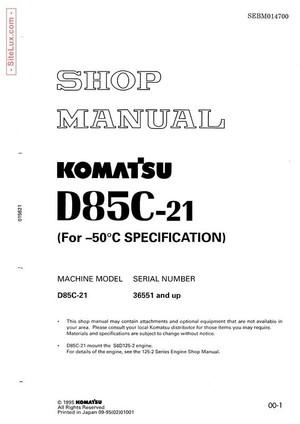 Komatsu D85C-21 Pipelayer Shop Manual - SEBM014700