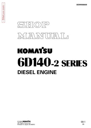 Komatsu 6D140-2 Series Diesel Engine Shop Manual - SEBM008609