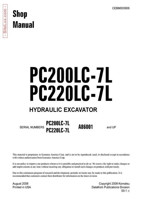 Komatsu PC200LC-7L, PC220LC-7L Hydraulic Excavator (A86001 and up) Shop Manual - CEBM005806
