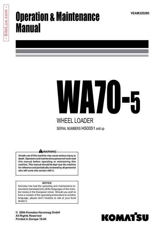Komatsu WA70-5 Wheel Loader Operation and Maintenance Manual - VEAM320200