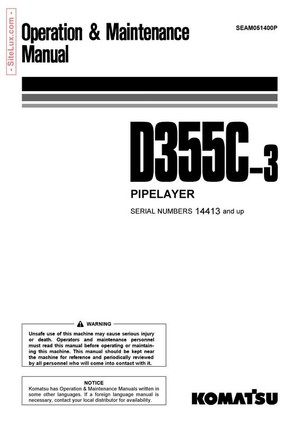 Komatsu D355C-3 Pipelayer Operation & Maintenance Manual - SEAM051400P
