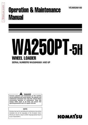 Komatsu WA250PT-5H Wheel Loader Operation & Maintenance Manual - VEAM290100
