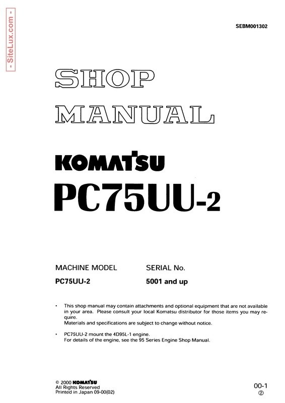Komatsu PC75UU-2 Hydraulic Excavator (5001 and up) Shop Manual - SEBM001302