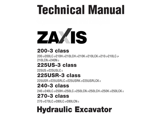 hitachi zx200 3 zx225us 3 zx225usr 3 zx240 3 z rh sellfy com Hitachi 225 Excavator Dimensions Hitachi 150 Excavator Specs