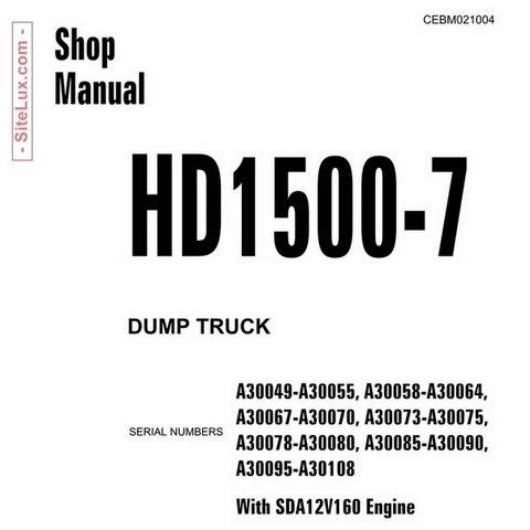 Komatsu HD1500-7 Dump Truck (SN: A30049-A30108) Shop Manual - CEBM021004