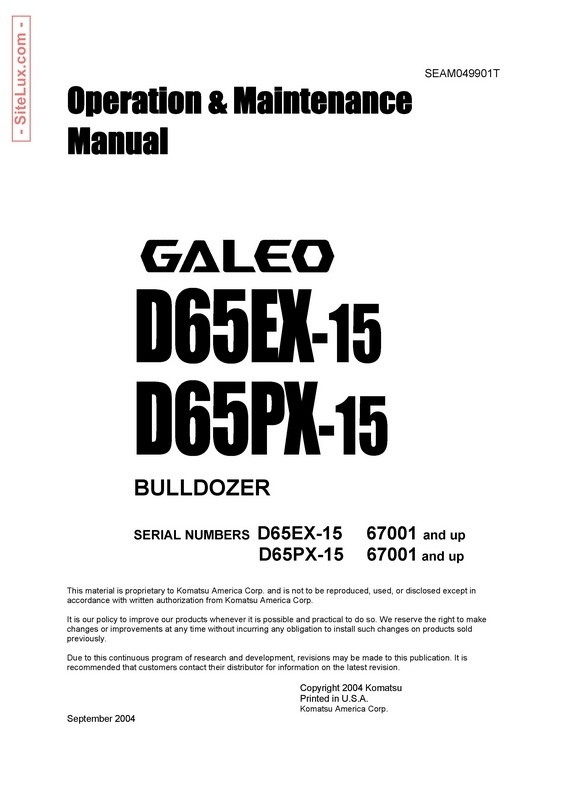 Komatsu D65EX-15, D65PX-15 Galeo Bulldozer Operation & Maintenance Manual - SEAM049901T