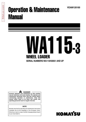 Komatsu WA115-3 Wheel Loader Operation & Maintenance Manual - VEAM120100