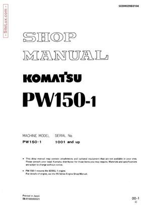 Komatsu PW150-1 Hydraulic Excavator (1001 and up) Shop Manual - SEBM020E0104