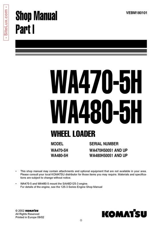 Komatsu WA470-5H, WA480-5H Wheel Loader Shop Manual - VEBM180101