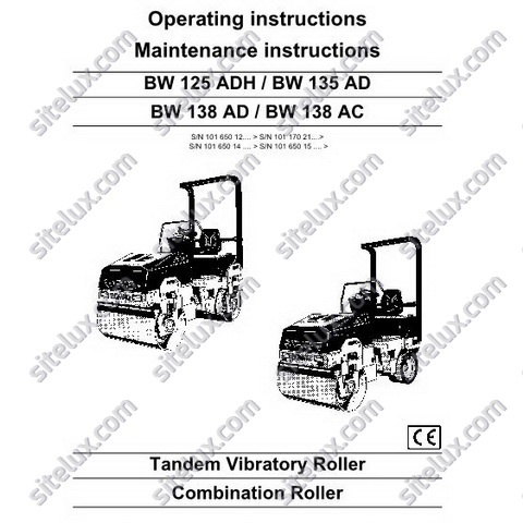 Bomag BW 125 ADH / BW 135 AD / BW 138 AD / BW 138 AC Operation & Maintenance Instructions