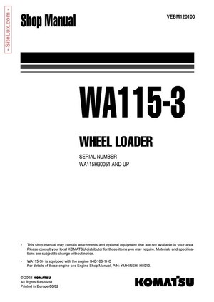 Komatsu WA115-3 Wheel Loader Shop Manual - VEBM120100
