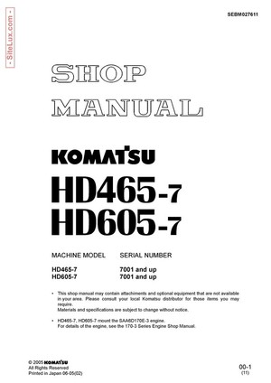 Komatsu HD465-7 & HD605-7 Dump Truck Shop Manual - SEBM027611