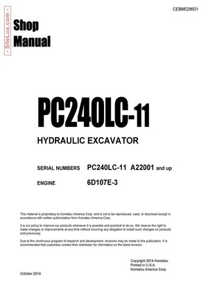 Komatsu PC240LC-11 Hydraulic Excavator (A22001 and up) Shop Manual - CEBM028601
