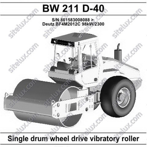 Bomag BW 211 D-40 Single Drum Wheel Drive Vibratory Roller Spare Parts Catalogue