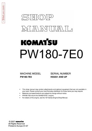 Komatsu PW180-7E0 Hydraulic Excavator (H55051 and up) Shop Manual - VEBM400100