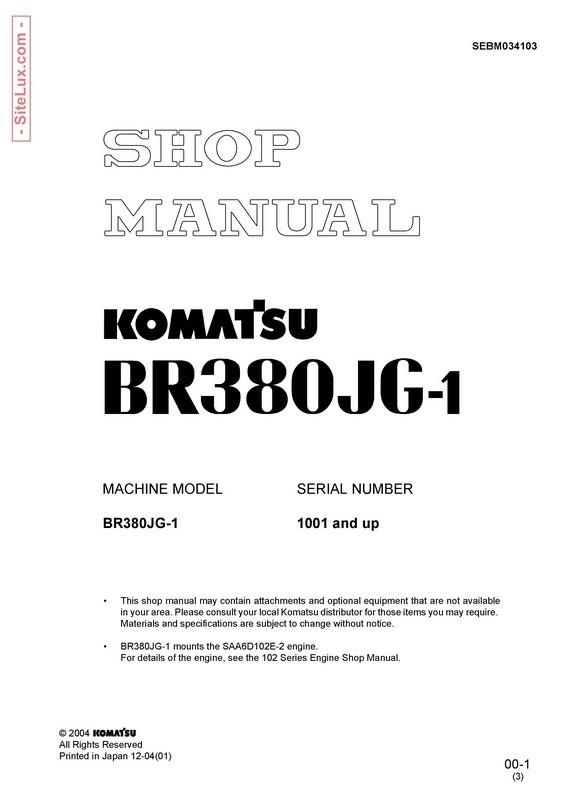 Komatsu BR380JG-1 Mobile Crusher Shop Manual - SEBM034103
