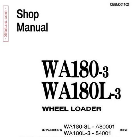 Komatsu WA180-3, WA180L-3 Wheel Loader Shop Manual - CEBM001102