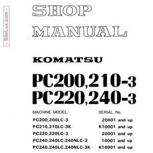 Komatsu PC200,210,220,240-3 Hydraulic Excavator Shop Manual - SEBM02050309
