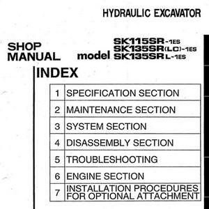 Kobelco SK115SR-1ES, SK135SR(LC)-1ES, SK135SRL-1ES Hydraulic Excavator Shop Manual - S5YY0007E