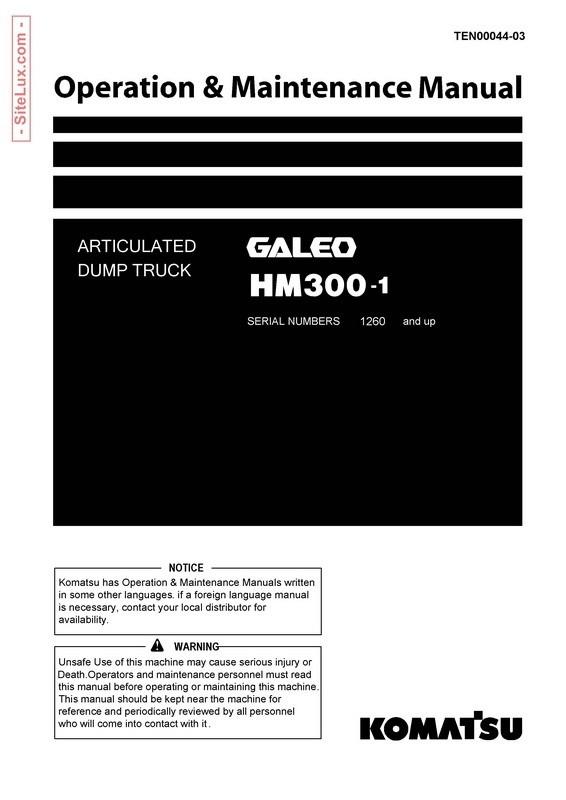 Komatsu HM300-1 Articulated Dump Truck Operation & Maintenance Manual - TEN00044-03