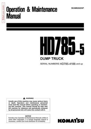 Komatsu HD785-5 Dump Truck Operation & Maintenance Manual - SEAM028205P