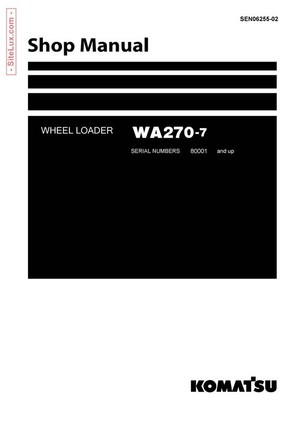 Komatsu WA270-7 Wheel Loader Shop Manual - SEN06255-02