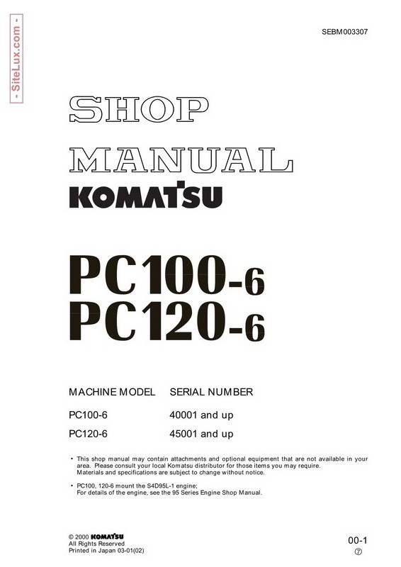 Komatsu PC100-6, PC120-6 Hydraulic Excavator Shop Manual - SEBM003307