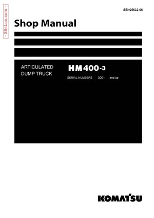 Komatsu HM400-3 Articulated Dump Truck Shop Manual - SEN05632-06